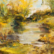 Autumn landscape, oil painting art background — Stock Photo