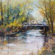 White bridge, oil painting — Stock Photo