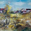 Stock Photo: Village spring, oil painting