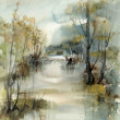 Landscape with river, watercolour — Stock Photo