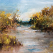 Stock Photo: Landscape with River oil painting