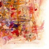 Abstract painting on paper in red and yellow colors — Stock Photo