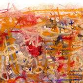 Abstract painting on paper in red, blue and yellow colors — Stock Photo
