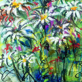 Theme with flowers, ink and soft pastels — Stock Photo