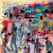 Stock Photo: Abstract acrylic painting with figures