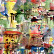 Stock Photo: Town, abstract acrylic painting on paper