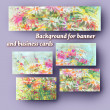 Set the background to the banner and business cards with floral — Stock Photo