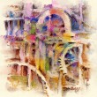 Stock Photo: Abstract painting with colored pastels