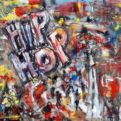 Abstract painting with the words hip hop — Stock Photo