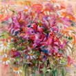 Daisies and roses soft pastel painting — Stock Photo