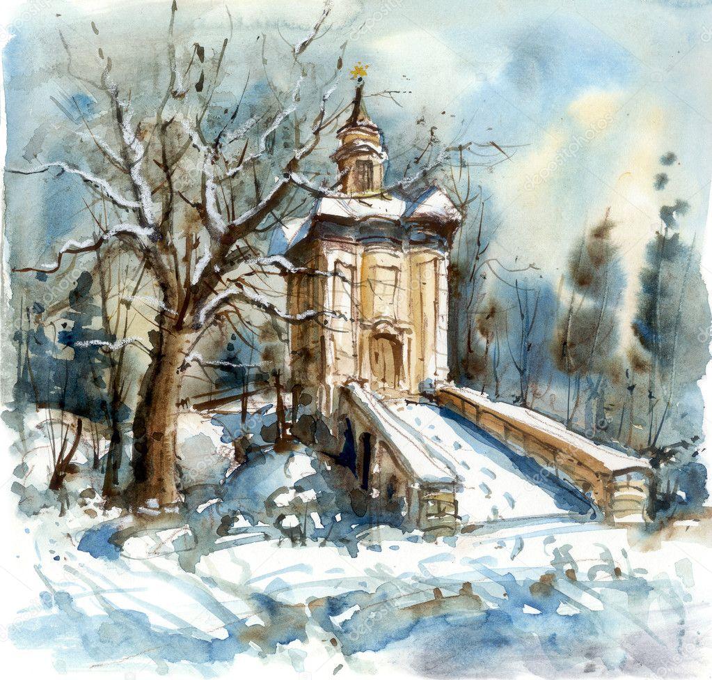 冬季景观与教堂, 水彩插图– 图库图片