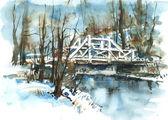 Blanco puente sobre el río — Foto de Stock