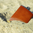 Flask in the sand — Stock Photo