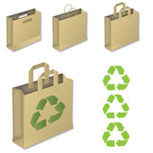 Four brown paper bags with recycle symbol. — Stock Vector