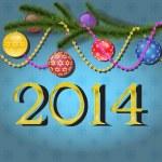 Christmas balls on tree branch — Stock Vector