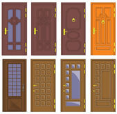 Classic interior and front wooden doors - vector — Stock Vector