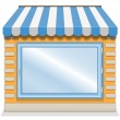 Cute shop icon with blue awnings. — Stock Vector