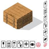 Wooden cargo box Vector — Stock Vector