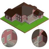 Vector isometric villa — Stock Vector