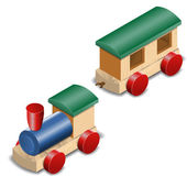 Wooden toy train isolated on white — Vettoriale Stock