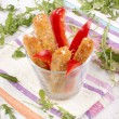 Fried vegetable sticks with sesame seeds — Stock Photo