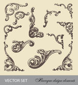 Vector set: Baroque design elements and page decoration — Stock Vector