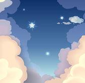 Céu de noite com nuvens e estrelas. ilustração vetorial — Vetor de Stock