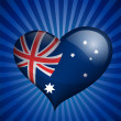 Australia Flag in heart shape — Stock Vector