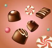 Vector set of chocolate candies. EPS 10 — Stock Vector