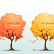 Autumn trees with falling leaves. — Stock Vector