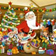 The santa claus - the christmas tree - and the dwarfs — Stock Photo
