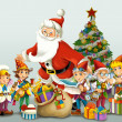 The santa claus - the christmas tree - and the dwarfs — Stock Photo #26898745