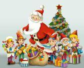 Noel baba - noel ağacı - ve cüceler — Stok fotoğraf
