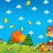 The child in the wood - mushrooming - or autumn illustration — Stock Photo