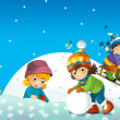 Children at play on the snow - illustration for the children — Stock Photo