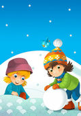 Children at play on the snow — Stock Photo
