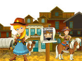 Cowgirl or Cowboy - wild west - illustration for the children — Stock Photo