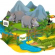 Zoo cartoon for kids Cute Friendly Hippo — Stock Photo