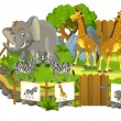 Safari cartoon zoo — Stock Photo