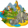 Stock Photo: Cartoon safari - illustration for children