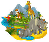 Cartoon safari - illustration for the children — Stock Photo