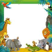 Cartoon safari- Frame - border — Stock Photo