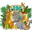 Stock Photo: Cartoon zoo - illustration for children