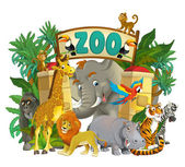 Cartoon zoo - illustration for the children — Stock Photo