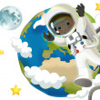Stock Photo: Astronaut boy in space