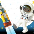 Astronaut boy in space — Stock Photo