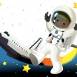 Astronaut boy in space — Stock Photo #28470343