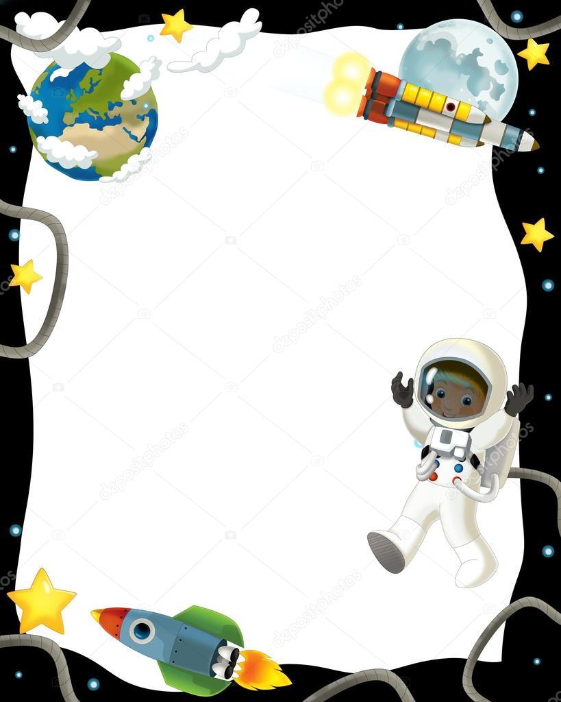 Ni o astronauta en el espacio marco fotos de stock - Dibujos infantiles del espacio ...