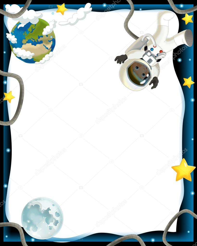Stock Photo Astronaut Boy In Space Frame on Name Tag Template With Animals 9