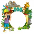 Cartoon zoo, amusement park, illustration for the children — Stock Photo #28569515